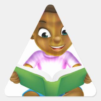Cartoon Little Girl Reading Amazing Book Triangle Sticker