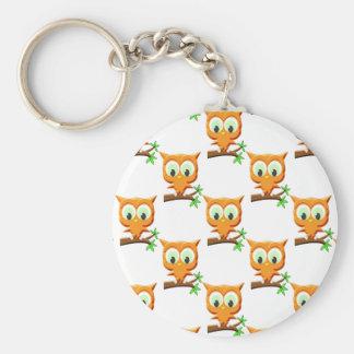 Cartoon Little Owl On Branch Pattern Keychain