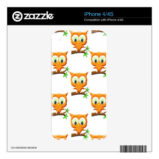 Cartoon Little Owl On Branch Pattern Skins For The iPhone 4