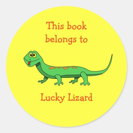 Cartoon Lizard Custom Bookplate Sticker