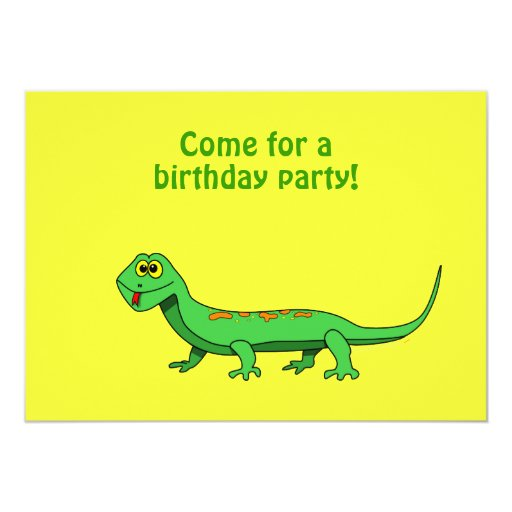 Cartoon Lizard Kids Reptile Birthday Invitations