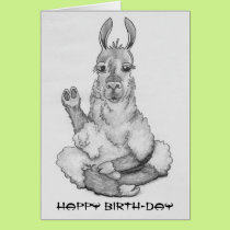 Cartoon llama doing yoga, caption: Happy Birth-day Card