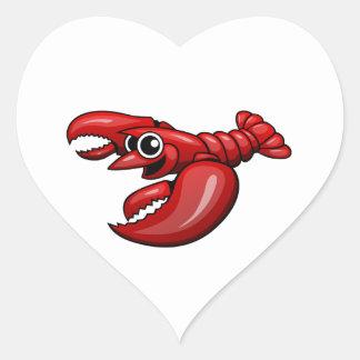 Cartoon Lobster Heart Sticker