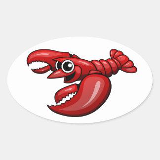 Cartoon Lobster Oval Sticker