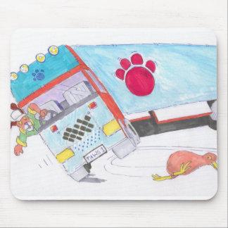 Cartoon Lorry Truck with dog and kiwi bird Mousepads