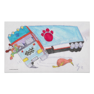 Cartoon Lorry Truck with dog and kiwi bird Poster