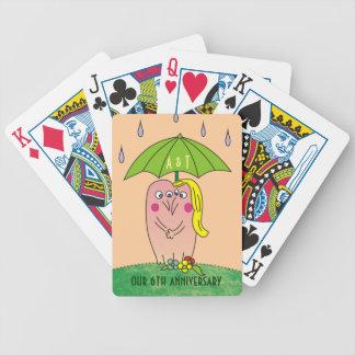 Cartoon Lovers under Umbrella Playing Cards