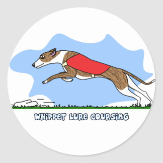Cartoon Lure Coursing Whippet Classic Round Sticker