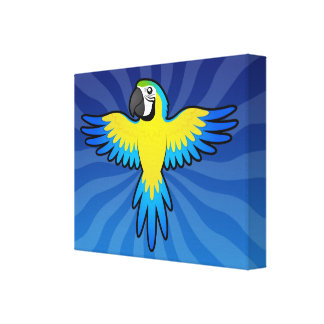 Cartoon Macaw Parrot Gallery Wrapped Canvas