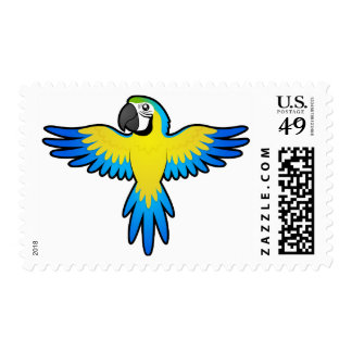 Cartoon Macaw / Parrot Postage Stamp