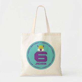 Cartoon Mad Scientist Aqua Happy 6th Birthday Tote Bag