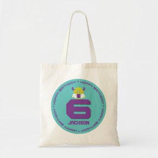 Cartoon Mad Scientist Aqua Happy 6th Birthday Tote Bag