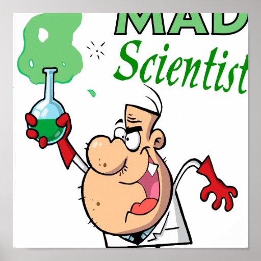 cartoon mad scientist poster