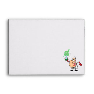 cartoon mad scientist with potion envelopes