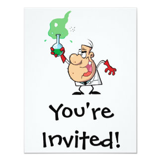 cartoon mad scientist with potion 4.25x5.5 paper invitation card