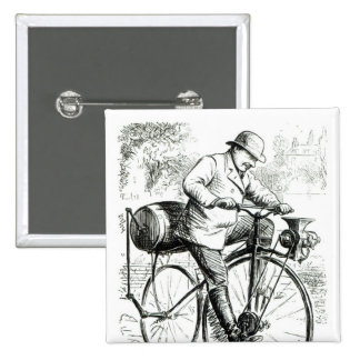 Cartoon making fun of the early days of Bicycles Button