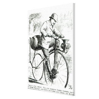 Cartoon making fun of the early days of Bicycles Canvas Print