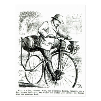 Cartoon making fun of the early days of Bicycles Postcard