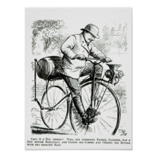 Cartoon making fun of the early days of Bicycles Poster