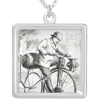 Cartoon making fun of the early days of Bicycles Square Pendant Necklace
