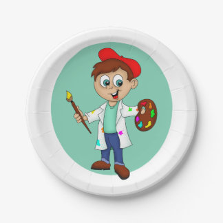 Cartoon Male Artist with a Brush and Palette Paper Plate