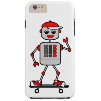 Cartoon Male Robot on Skateboard Tough iPhone 6 Plus Case