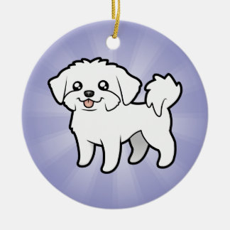 Cartoon Maltese (add your own message) Ceramic Ornament