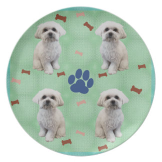 Cartoon Maltese Plate