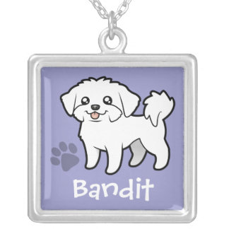 Cartoon Maltese (puppy cut) (add your pets name) Silver Plated Necklace