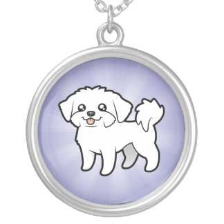 Cartoon Maltese (puppy cut) Silver Plated Necklace
