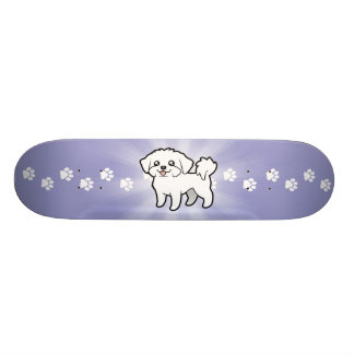 Cartoon Maltese (puppy cut) Skateboard