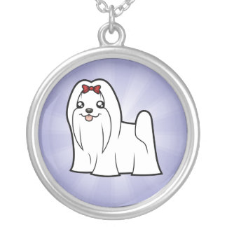Cartoon Maltese (show cut) Silver Plated Necklace