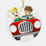 Cartoon man and woman in car christmas ornament