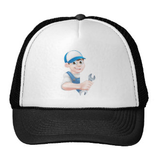 Cartoon Man Mechanic Plumber Trucker Hat