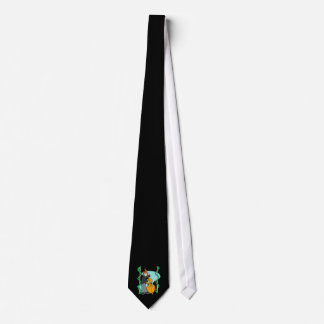 Cartoon man playing upright bass by backdrop tie