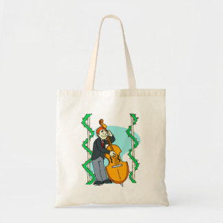 Cartoon man playing upright bass by backdrop tote bag