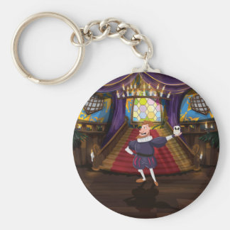 Cartoon man reciting shakespeare play. basic round button keychain