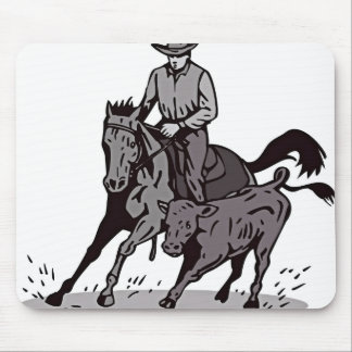 Cartoon Man Riding Horse In Mud Mouse Pad