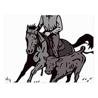 Cartoon Man Riding Horse In Mud Postcard
