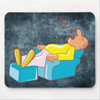 Cartoon Man Sleeping In Lounge Chair ZZZ Mouse Pad
