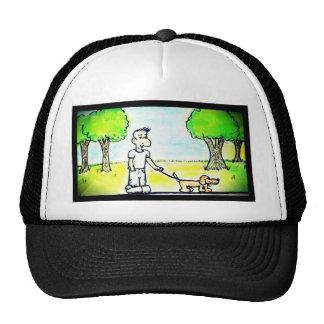 cartoon man walking his dog in the park hats