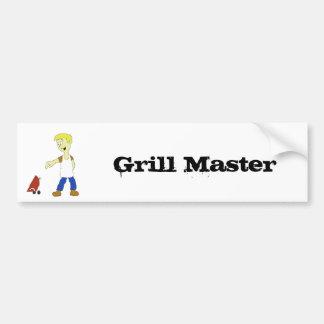 Cartoon Man With BBQ Grill Bumper Sticker