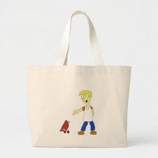 Cartoon Man With BBQ Grill Jumbo Tote Bag