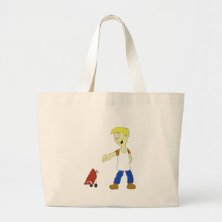 Cartoon Man With BBQ Grill Large Tote Bag