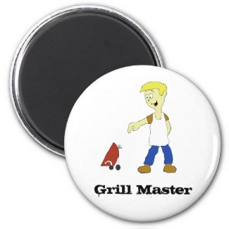 Cartoon Man With BBQ Grill Magnet