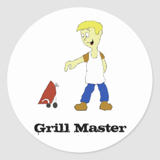 Cartoon Man With BBQ Grill Round Stickers