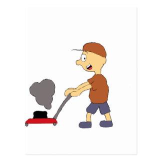 Cartoon Man With Lawn Mower Postcard