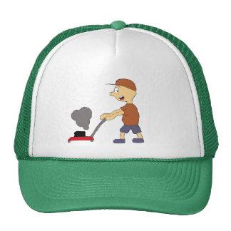 Cartoon Man With Lawn Mower Trucker Hat