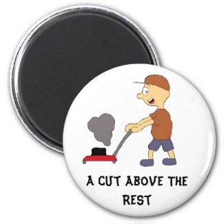 Cartoon Man With Lawnmower Magnet