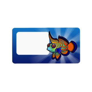 Cartoon Mandarin / Dragonet Fish Address Label